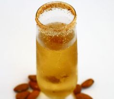 Champagne Cocktail: Amaretto and Champagne with a toasted almond sugar rim