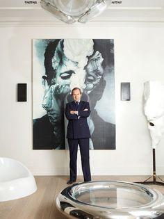 Simon De Pury in front of his Urs Fischer 'Chemical Wedding' (2009). Harper's Bazaar: Art of Living