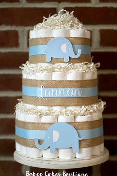3 Tier Blue Burlap Elephant Diaper Cake Blue by BabeeCakesBoutique