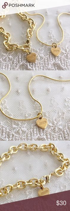 """SET! Coach Petite Logo Heart Bracelet & Necklace 🎀NOTE TO BUYERS... all my items are marked to lowest price. PLEASE DON'T MAKE OFFERS, MY PRICE IS FIRM. Thank you and have a Wonderful Day!🎀  100% Guaranteed Authentic Coach Petite Heart charm on CUSTOM 19.5"""" 18k plated (stamped) necklace with lobster closure clasp & 8"""" gold bracelet. No box included.  Brand new!  I can adjust bracelet to ANY SIZE NEEDED! Top Rated ⭐️⭐️⭐️⭐️⭐️ Seller!! Follow me so you can be notified of new items listed…"""