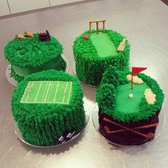 Cricket Cake, Golf Cake, Rugby Field Cake and Lawn