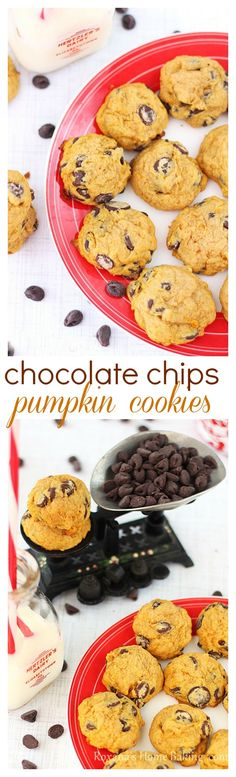 Chocolate-chip pumpkin muffin top cookies - moist, cake-like cookies, packed with pumpkin sweetness and full of chocolate-chips