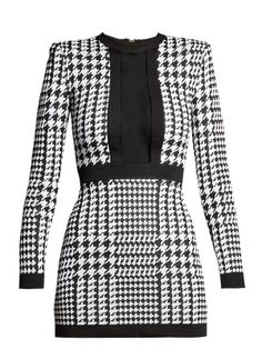 Balmain Houndstooth Mesh-trimmed Stretch-knit Mini Dress In Black Stage Outfits, Kpop Outfits, Fashion Outfits, Gothic Fashion, Women's Fashion, Classy Outfits, Pretty Outfits, Cute Outfits, Black And White Short Dresses
