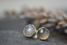 Grey moonstone rose cut sterling silver stud earrings £20.00