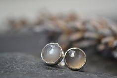 Grey moonstone rose cut sterling silver stud earrings £20.00