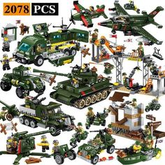 Playset All Vehicles 2078 Pieces 24 Minifigures Lego Ww2, Lego Army, German Soldiers Ww2, Toy Soldiers, Legos, Space Miner, Lego Guns, Nerf Toys, Heavy Duty Trucks