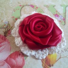 Brooch Made from Satin Red Ribbon And Crochet  base, Flower  homemade Jewellery  £4.95