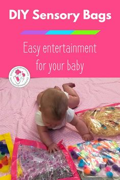 These DIY sensory bags are easy to make and perfect entertainment for babies and infants. A little hair gel and some craft supplies is all it takes! Diy Sensory Toys For Babies, Baby Sensory Bags, Baby Sensory Play, Infant Sensory, Kids Crafts, Baby Crafts, Infant Crafts, Daycare Crafts, Daycare Ideas