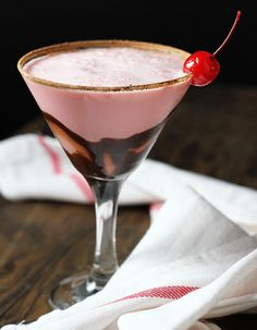 A Sweet Valentine's Day Toast coming up to all of you fellow Pinners! ... ♥ Chocolate Cherry Cream Cocktail recipe | via Our State North Carolina