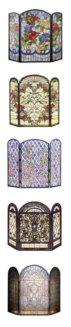Beautiful stained glass fireplace screens