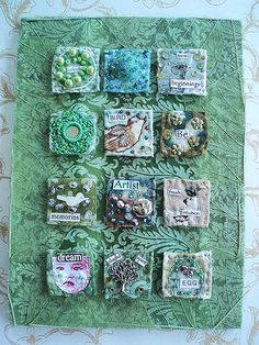 Fabric Inchies * Make sm. art quilts, postcards, squares, bok,journal covers(all inchies or those & Fabric Art, Fabric Crafts, Fabric Books, Embroidery Fabric, Inchies, Fabric Postcards, Creation Deco, Fabric Journals, Textiles