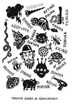 """Herkkien korvien tehtäväkortit. Kortti 13. Tarkoituksena on keskustella ääntä kuvaavista sanoista. Huomatkaa, että kaikki eivät ajattele samalla tavalla ja """"oikeita"""" vastauksia voi olla useita. Keskustelkaa kuvan asioista ja niihin liittyvistä äänistä.Lataa kaikki kortit sisältävä julkaisu parempilaatuisena Helsingin yliopiston digitaalisesta arkistosta. Tekijät: Sara Sintonen & Emilia Erfving"""