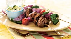 A tangy yogurt-garlic-cucumber sauce is a cool, refreshing accompaniment for grilled beef and vegetables. We like to use Greek yogurt because it has a thick enough texture to blend with high-moisture ingredients without becoming too thin.