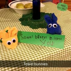 Towel bunnies...some bunny misses you...miss her too