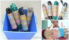 Cord Organizer - decorate empty toilet paper rolls and use them to keep cords untangled Planer Organisation, Cord Organization, Office Organisation, Ideas Para Organizar, Ideas Geniales, Toilet Paper Roll, Organizing Your Home, Clever Diy, Getting Organized