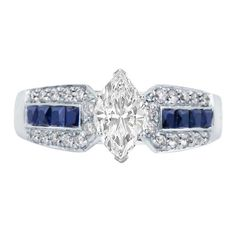 Marquise Diamond Vintage Engagement Ring Horse shoe setting with blue sapphires