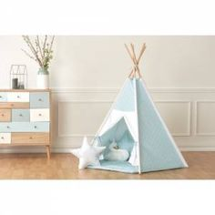 KraftKids Children love to hide in tents or play houses, where they can play in their own little world. This play teepee tent with white semi-circles on pastel blue is ideal for doing just that. The tent has a pentagon shape. The five natural wood rods are finely polished. For additional stability, all rods Teepee Nursery, Shiplap Cladding, Pastel Blue Background, A Frame Tent, Teepee Play Tent, Kids Tents, Wooden Playhouse, Dcor Design, Mortise And Tenon