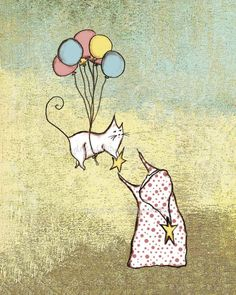 Pick out 1 thing in a picture to copy.  Paint the balloons, or the kitty.