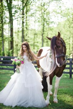 Gown: Charmed by Anne Barge.  Romantic Equestrian Wedding Inspiration - The Celebration Society