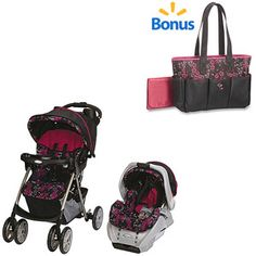 Graco Spree Travel System w/BONUS Ariel Diaper Bag Value Bundle- This is the one i want if i ever have a baby girl.