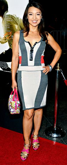 Ming Na Wen rocked a gray, ivory, and neon orange tank dress to the 12 Years a Slave premiere.