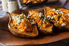 Akis recipe for feta stuffed sweet potatoes. A quick and tasty appetizer. Try this delicious vegetarian recipe that will impress your guests! For a vegan version, use tofu instead of feta cheese! Vegetarian Appetizers, Yummy Appetizers, Vegetarian Recipes, Cooking Recipes, Sweet Potato Recipes, Pinterest Recipes, Greek Recipes, Vegetable Dishes, Tasty Dishes