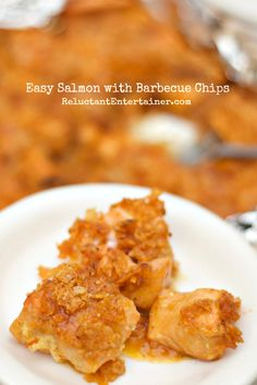 Easy Salmon with Barbecue Chips   reluctantentertainer.com