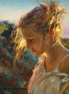 Daniel F. Gerhartz, b. 1965 {figurative beautiful female head blonde woman face portrait profile painting #2good2btrue} Nice backlight !! danielgerhartz.com