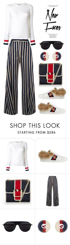 """""""Thom Browne stripe detail jumper"""" by thestyleartisan ❤ liked on Polyvore featuring Thom Browne, Gucci, Tommy Hilfiger, palmer//harding, Topshop, stripesonstripes and PatternChallenge"""
