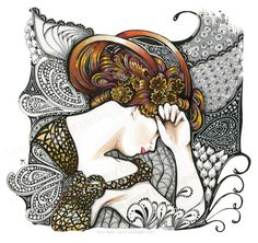 """Inspired by Alphons Mucha art. I put to use the official tangle, """"mooka"""", named after the artist. 01, 05 micron and tombow markers/blending marker. Zentangle Drawings, Doodles Zentangles, Doodle Drawings, Zen Doodle, Doodle Art, Doodle People, Art Journal Pages, Simple Art, Ink Art"""