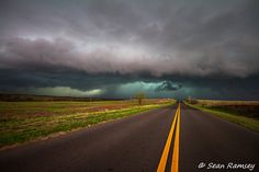 Storm Photography, Landscape Photography, Road Print, Storm Art, Weather Photo, Teal, Yellow, Landscape Photo, Road Art, Weather Art, Art