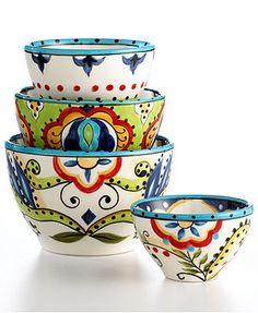 Espana Dinnerware, Bocca 4 Piece Bowl Set - Casual Dinnerware - Dining & Entertaining - Macy's Bridal and Wedding Registry Pottery Painting, Ceramic Painting, Ceramic Art, Pottery Bowls, Ceramic Pottery, Serveware, Tableware, Kitchenware, Casual Dinnerware