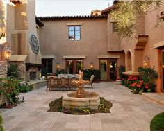 spanish courtyard design with fountain and furniture : Spanish Courtyard Design. courtyard design ideas,courtyard design inspiration,courtyard home design,spanish courtyard design ideas,spanish courtyard pictures Spanish Style Bathrooms, Spanish Style Homes, Spanish House, Spanish Colonial, Spanish Design, Design Patio, Courtyard Design, Exterior Design, Courtyard Ideas