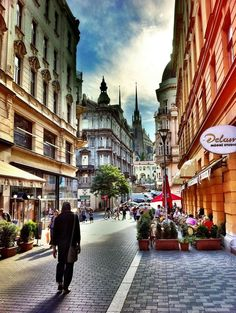 Beautiful cobble-stoned street with wonderful buildings in Brno - Czech Republic ~