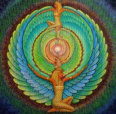 ISIS magic Wings Egyptian Goddess spiritual Art mandala fantasy 8x8 print. By Halstenberg Studio via Etsy.