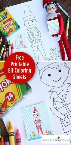 Elf on the Shelf Free Printable Coloring Sheets. Livinglocurto.com