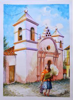 Iglesia de Yuscaran por Hector Cortes - Pintor y fotografo hondureño Acuarelas (watercolor) de Tegucigalpa y Yuscaran, Honduras