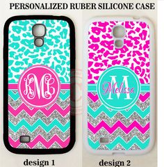 MINT PINK CHEETAH CHEVRON MONOGRAM PHONE Case For Samsung Galaxy S7 S6 NOTE 5 4 #UnbrandedGeneric
