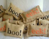 BOO EEK -- Burlap hand stamped Halloween stuffed pillow set, 2 pillows