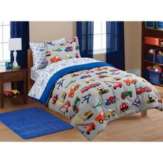Mainstays Kids Transportation Coordinated Bed in a Bag Walmart from Kids Twin Bed SetsKids Twin Bed Sets - Are you plan Boys Bedding Sets, Full Comforter Sets, Duvet Sets, Bed Sets, Boy Bedding, Queen Bedding, Bedroom Comforters, Cot Duvet, Sports Bedding