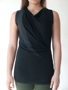 13bf80ca3a7 Black draped tunic top that combines style with comfort. Modern silhouette  constructed of super soft