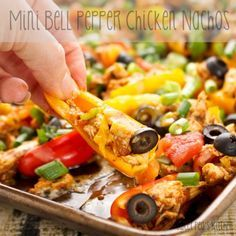 Mini Bell Pepper Chicken Nachos. Great way to indulge and add some extra veggies!