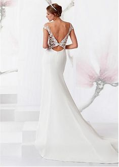 Wonderful Tulle & Chiffon Square Neckline Sheath/Column Wedding Dress With Lace Appliques & Beadings