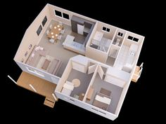 Two bedrooms may not be a mansion, but with the right layout it can be plenty of space for a growing family or even a swinging single. The best apartment layout 2 Bedroom Floor Plans, Two Bedroom House, Apartment Floor Plans, House Rooms, Bedroom Small, Micro House Plans, 3d House Plans, Model House Plan, Small Log Home Plans