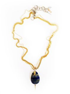 Lariat necklace with blue lapis lazuli stones, rhinestones, brass and charms. Boho chic necklace. Boho chic jewelry.