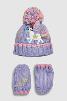 21dbe5a7e56 Buy Lilac Unicorn Hat And Gloves Two Piece Set (Younger) from the Next UK  online shop