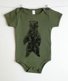 Grizzly Bear with Triangle Texture - Baby Onesie - American Apparel - Available in 3-6MO, 6-12MO and 12-18MO. $22.00, via Etsy.