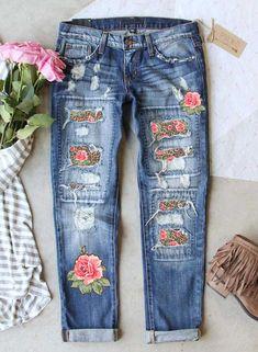 Slim Jeans, Ripped Jeans, Women's Jeans, Patchwork Jeans, Patched Jeans, Denim Trends, Leopard Pattern, Slim Waist, High Waist