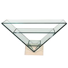 View this item and discover similar for sale at - Italian glass triangular console with three glass shelves and travertine base. Glass Furniture, Home Furniture, Cool Tables, Nesting Tables, Travertine, Glass Shelves, Table And Chairs, Console Table, Furnitures