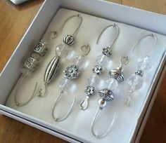 Beaded Ornament Hangers  Antique Silver and Crystal  by JustHangOn
